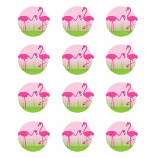 PhotoCake Round PINK FLAMINGOS