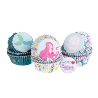 PME Cupcake Cases Foil Lined MERMAID Pack of 60