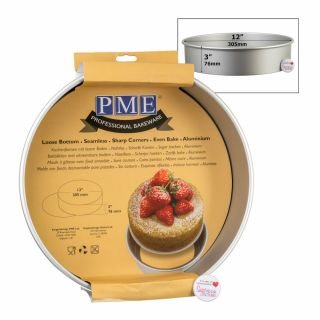 PME Professional Bakeware Round Loose Bottom Cake Pan 12 x 03inch