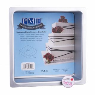 PME Professional Bakeware Square Seamless Cake Pan 08 x 08 x 03 inch