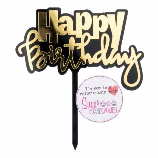 S&C Cake Topper Black and Gold Happy Birthday