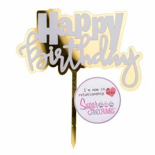 S&C Cake Topper Gold and White Happy Birthday