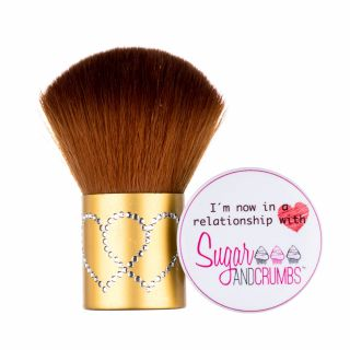 S&C Dusting Brush Large Metallic Gold with Love Hearts