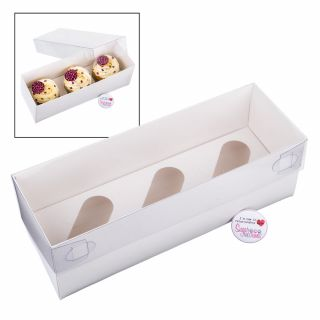 S&C Luxury White Cake Box with Clear Lid Holds 3 - Pack of 2.1