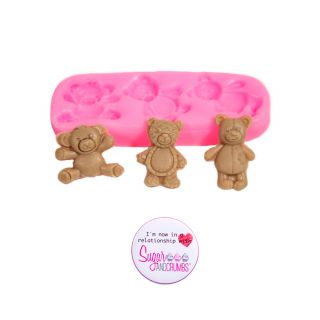 S&C Silicone Mould - 3 Tiny Bears