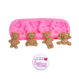 S&C Silicone Mould - 4 Tiny Bears