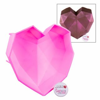 S&C Silicone Mould Geometric Giant Love Heart - PINK