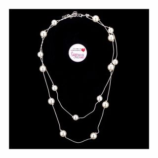 S&C Sparkles Necklace Double Layer with 8mm Pearls