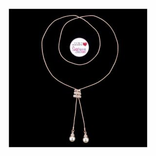 S&C Sparkles Necklace Pearl and Rhinestone Pendant ROSE GOLD