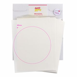 Simply Making EDIBLE ICING SHEETS 8 Inch Circles Pack of 24