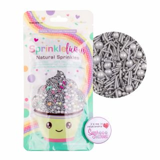 Sprinklelicious Party Mix Pearlised SILVER 100G
