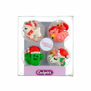 Culpitt Sugar Pipings CHRISTMAS UNICORN AND FRIENDS Pack of 12