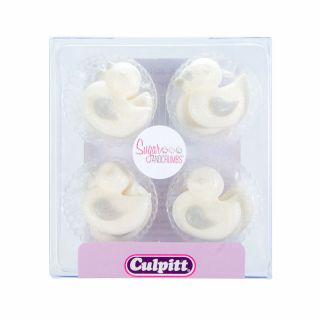 Culpitt Sugar Pipings WHITE LUSTRE AND SILVER DUCK Pack of 12