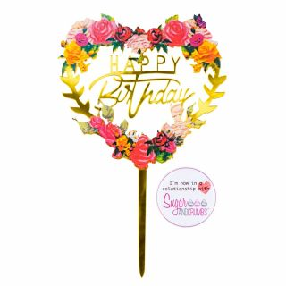 Sugar and Crumbs Cake Topper Happy Birthday Gold Floral Heart