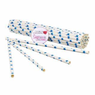 Sugar and Crumbs Paper Straws Blue Stars pack of 25