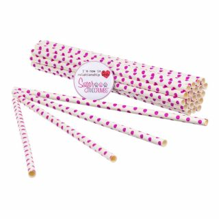 Sugar and Crumbs Paper Straws Pink Polka Dot pack of 25