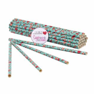 Sugar and Crumbs Paper Straws Roses Pattern pack of 25