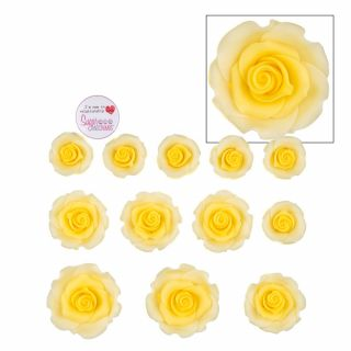 SugarSoft 12 Edible Assorted Yellow Mix Roses