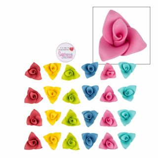 SugarSoft 24 Edible Origami Flowers Assorted Colours
