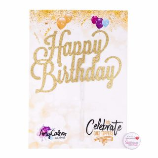 Sweet Stamp Cake Topper Happy Birthday ROSE GOLD