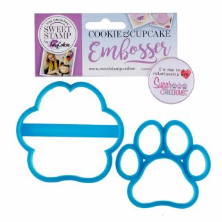 Sweet Stamp Cookie Cutter Embosser PAW PRINT Set