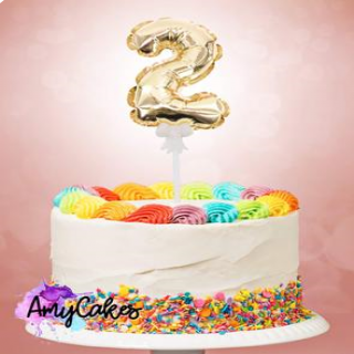 Sweet Stamp Foil Balloon Gold Number 2