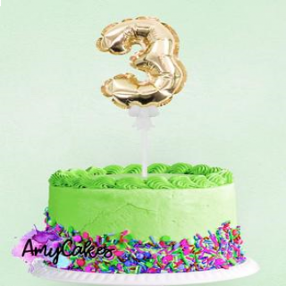 Sweet Stamp Foil Balloon Gold Number 3