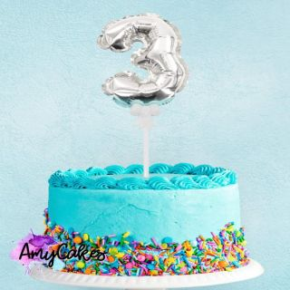 Sweet Stamp Foil Balloon Silver Number 3