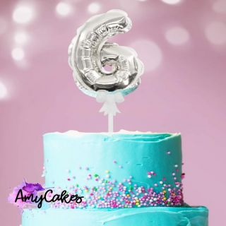 Sweet Stamp Foil Balloon Silver Number 6