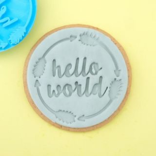 Sweet Stamp Cookie Embosser Hello World