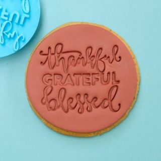 Sweet Stamp Cookie Embosser Thankful Grateful Blessed