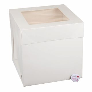 TALL Cake Box With WINDOW Lid White 10x10x10 inch Pack of 1