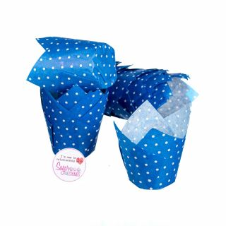 Tulip Muffin Wraps DARK BLUE POLKA DOT Pack of 50