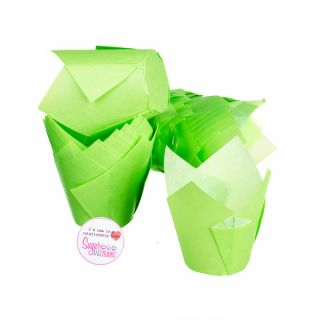 Tulip Muffin Wraps LIGHT GREEN Pack of 50