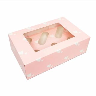 Pink Hearts Luxury Cupcake Box - Holds 6 - 4 inch deep.a