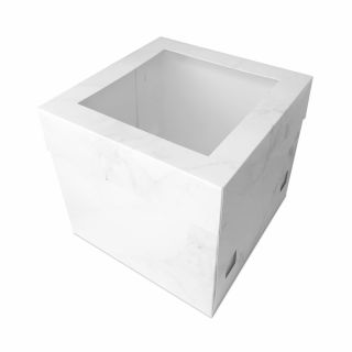 White Marble Gloss Extra Deep Cake Box with Window Lid 14 inch.a