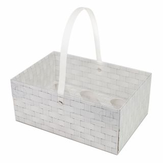 White Whicker Cupcake Box with Handle with clear lid - Holds 6.a