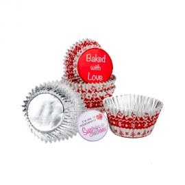 Baked with Love Cupcake Foil Cases RED NORDIC Pack of 25