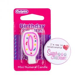 Culpitt Mini Pink Birthday Candle NUMBER 0