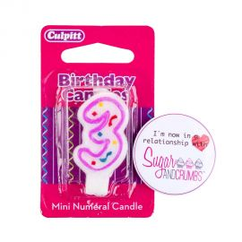 Culpitt Mini Pink Birthday Candle NUMBER 3