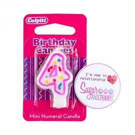 Culpitt Mini Pink Birthday Candle NUMBER 4
