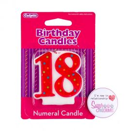 Culpitt Multi Red Birthday Candle NUMBER 18