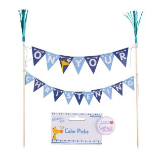Amscan ON YOUR CHRISTENING Cake Bunting Topper BLUE