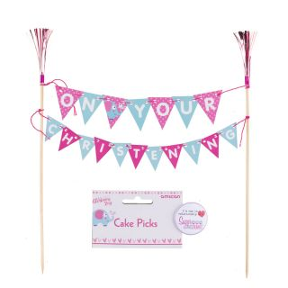Amscan ON YOUR CHRISTENING Cake Bunting Topper PINK