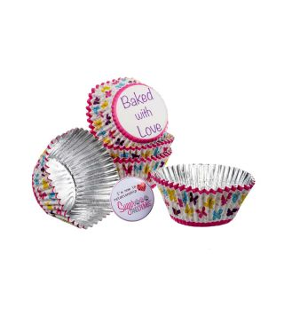 Baked with Love Cupcake Foil Cases BUTTERFLY Pack of 25