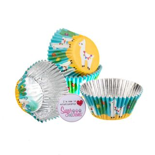 Baked with Love Cupcake Foil Cases LLAMA Pack of 25