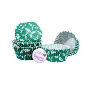 CAKE STAR Cupcake Cases GREEN HOLLY Pack of 54