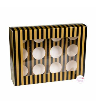 Cupcake Window Box GOLD & BLACK STRIPE Fits 12