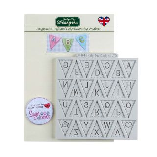 Katy Sue Silicone Mould ALPHABET BUNTING