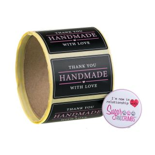 Labels BLACK Oblong HANDMADE WITH LOVE Sticker Roll of 100